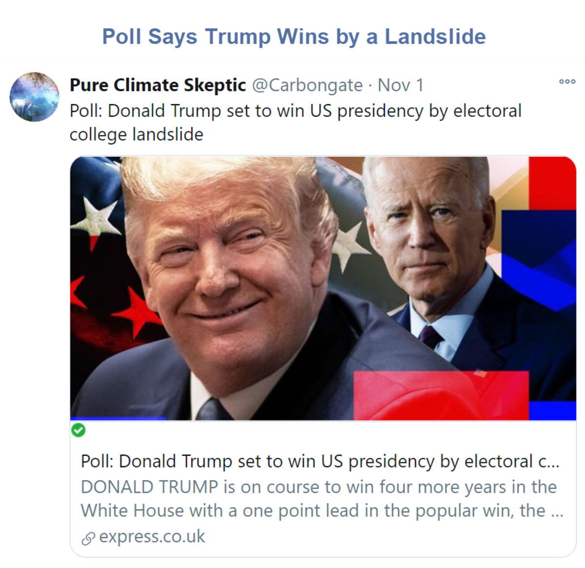 Poll Says Trump Wins by a Landslide