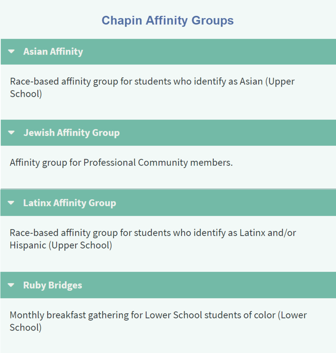Chapin Affinity Groups
