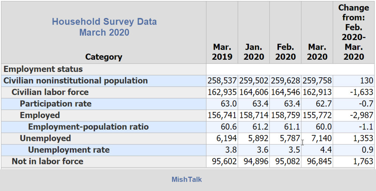 Household Survey Data March 2020