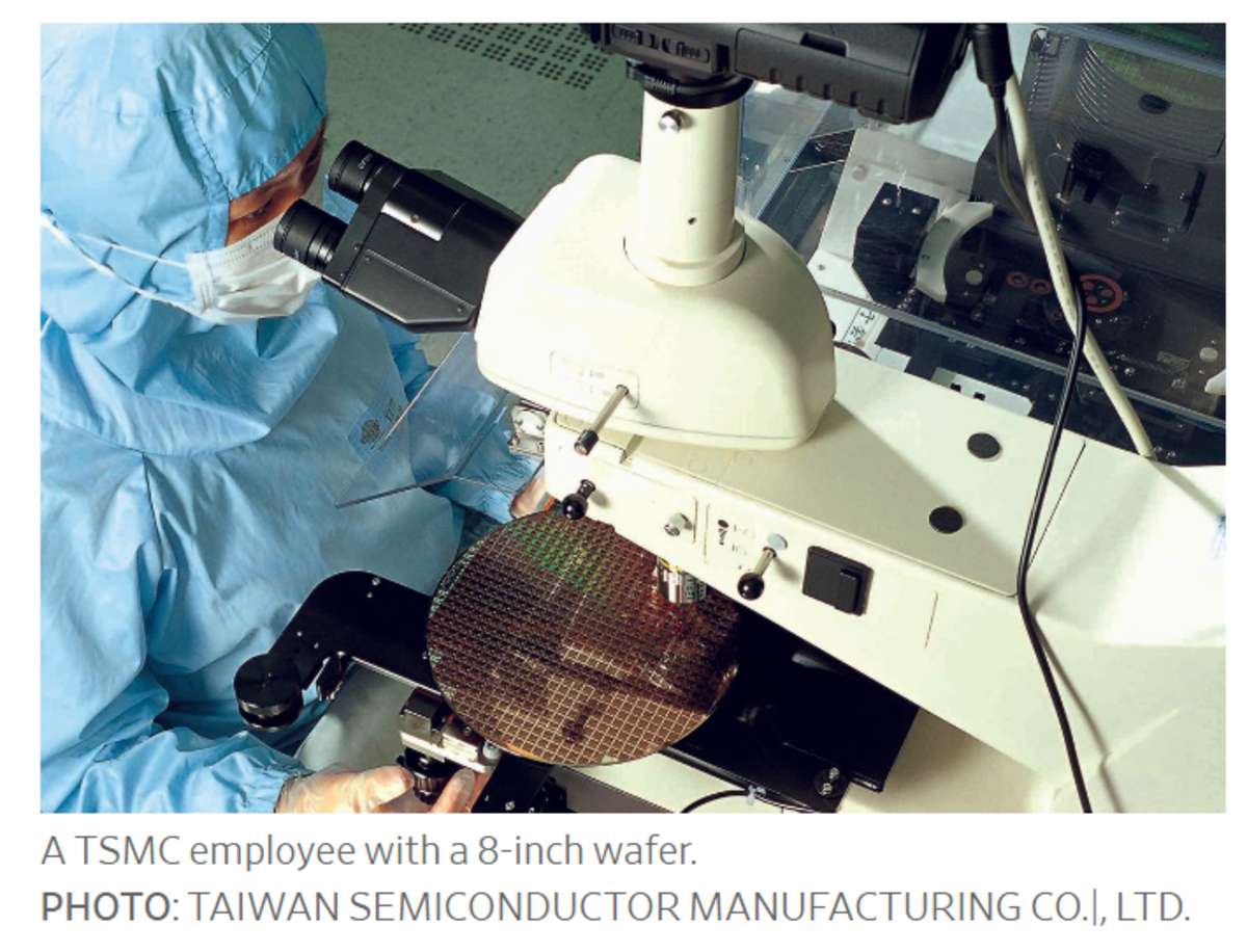 TSMC Employee with an 8-inch wafer
