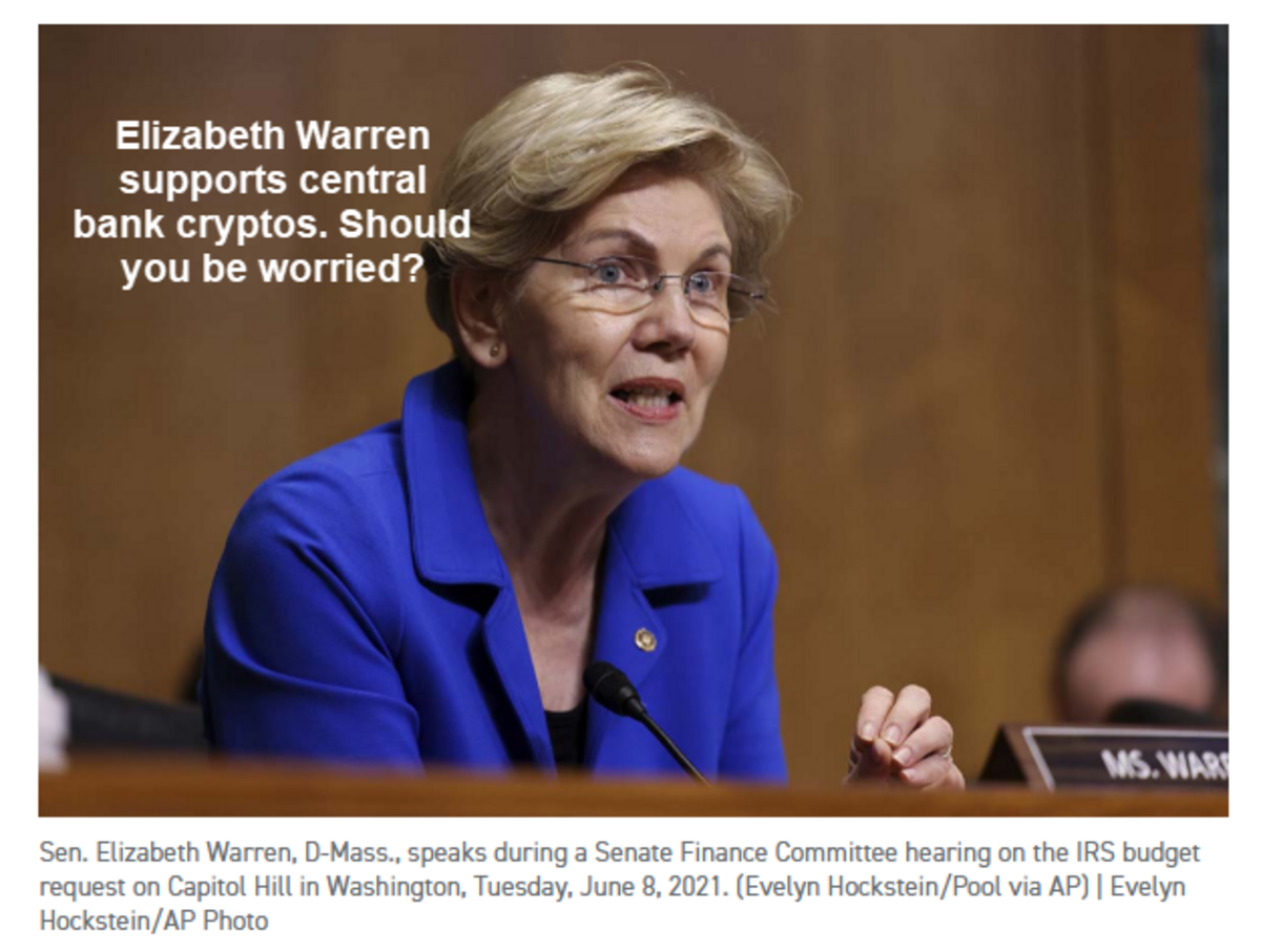 Elizabeth Warren supports central bank cryptos. Should you be worried